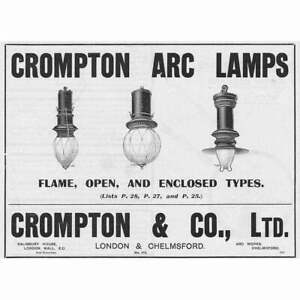 CROMPTON & CO London/Chelmsford - Arc Lamps - Antique Engineering Advert 1909
