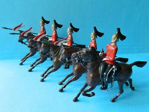 5 Vintage old Britains 54mm painted metal mounted Lancers toy soldier figures