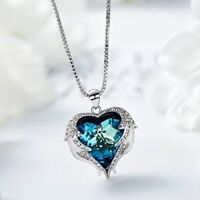 ANGEL WINGS PENDANT NECKLACE Heart Love Crystals Jewelry For Her Wife Mom Gift