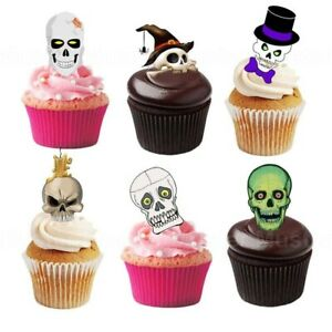 Totenkopf eßbar Torten-Bild-Aufleger Party Deko Muffin Geburtstag Halloween Skul