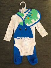 "NWT - 00 "" DINOSAUR "" BODYSUIT , PULL ON PANTS WITH MATCHING CAP & BIB"