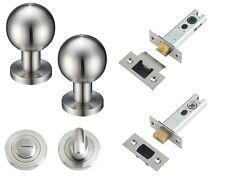 Ball Door Knob (Bathroom Set) - Satin Stainless Steel.