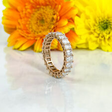 4.46 CT 18K Rose Gold Emerald Cut Diamond Eternity Band Engagement Ring F VS2