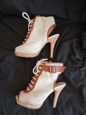 Size 4 *M&S LIMITED COLLECTION* Natural/brown canvas/leather peeptoe boots