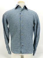 Suit Supply Men's Pure Linen Casual Shirt Size 15 3-4 Blue Green Checks