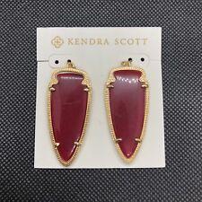 NEW Designer Kendra Scott Skylar Arrowhead Earrings Pink Onyx 14k Gold Plated KS