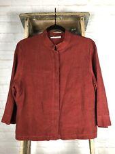 Bryn Walker Mandarin Collar Boxy 3/4 Sleeve Button Front Shirt Jacket Medium M