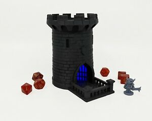 """Lighted 5"""" Dice Tower, Castle, Dice Roller, DnD, Dungeons and Dragons -Blue"""