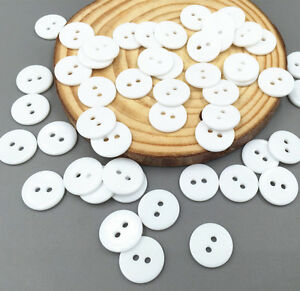 100pcs 2 Hole White Resin Buttons Fit Sewing Or Scrapbooking Crafts 11mm