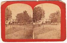 RARE Stereoview Photo- Ticonderoga NY 1870s Printing Office Barber Pole Fillmore