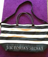 Victoria's Secret Pink Striped XL Large Double Strap Tote Beach Bag Pre-Owned