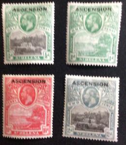 Ascension George V on St.Helena 1/2to 2d SG 1/4 Mounted Mint. C/V £49.50 In 2018