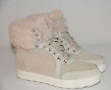 RJ's Fur Sneaker Sheepskin Womens Hi-Top Ankle Fur Trimmed Beige Boots Shoes UK5