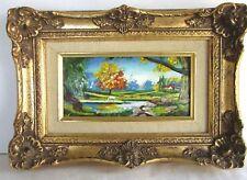 Enamel on Copper Landscape Painting - Signed - Gilt Frame - Cloisonne