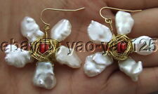 White  Keshi Pearl Jade Earrings-Gold  Plated Hook