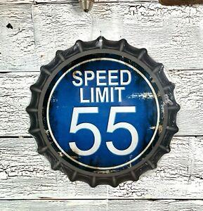 """SPEED LIMIT 55"" 12"" METAL BOTTLE CAP SIGN QUALITY BAKED INK RUSTIC U28"