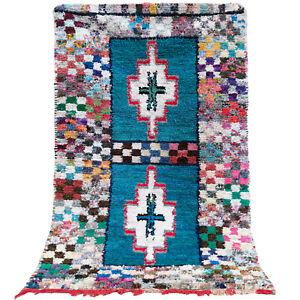 Old Vintage Moroccan Handmade  Boucherouite Rug Berber Wool Rug 4.2 FT X 6.8 FT