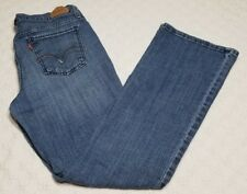 Levi's Struass 515 Distressed Whiskers Boot Cut Stretch Blue Jeans Size 8M