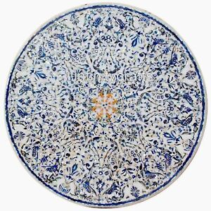 Shiny Gemstones Inlaid Dining Table Top Round Marble Conference Table 84 Inches
