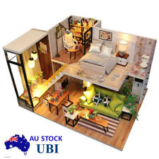 AU Stock Modern Doll House Miniature DIY Handmade Kit Dollhouse Furniture Gifts