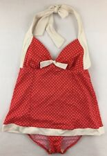 Tropical Escape Swimsuit Size 8 Red Cream Polka Dot Halter Retro One Piece