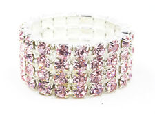 New Sparkling 4 Row Silver Stretch Ring with Pink Crystal Rhinestones #PINK4ROW