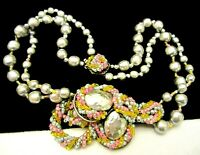 Rare Vintage Signed Miriam Haskell Faux Baroque Pearl Rainbow Crystal Necklace