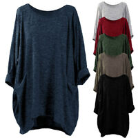 Women Blouse Long Sleeve T Shirts Ladies Pocket Loose Jumper Pullovers Oversized