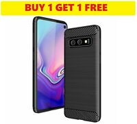 Samsung Galaxy S10 Carbon Fibre Best TPU GEL Silicone Gel Case Cover [2 FOR 1]