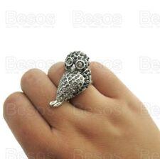 SIZE N LARGE CRYSTAL OWL RING jet black/grey crystals vintage silver rhinestone