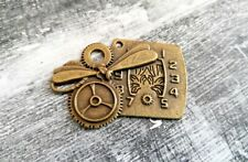 Steampunk Clock Pendant Dragonfly Gears Charm Antiqued Bronze Jewelry Supplies