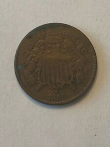 1866 2C TWO CENT PIECE COPPER US TYPE COIN GREAT CONDITION