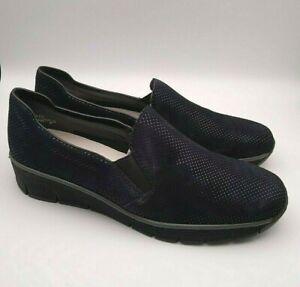 RIEKER Size 7 Dark BLUE SUEDE Spot Pattern Slip On LOAFERS Shoes £60 RRP