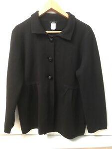 J. Crew Women's Black Wool Jacinda Sweater Jacket 98594 Size L Large