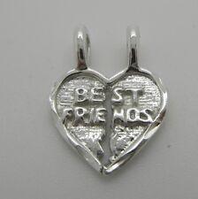 925 Sterling Silver Best Friends Heart Break Apart Pendant Charms