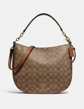 NWT Coach 39527 Khaki Saddle 2  Elle Hobo Signature C Shoulder Purse Bag $398