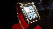 Swiss Gruen Quartz Gold Ladies Womens Wrist Watch + Case + New Gold Band