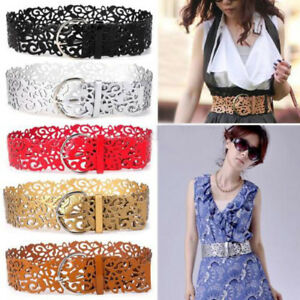 Women Hollow Wide Waist Belt Faux Leather Buckle Elastic Stretch Dress Waistband