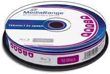 20-Pak 25GB MediaRange 2X BLU-RAY BD-RE's with Logo-top in Cakebox, #MR501