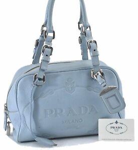 Authentic PRADA Leather Shoulder Hand Bag Light Blue D9129