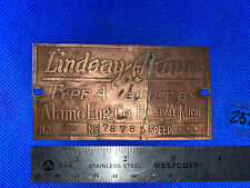 "1 1/2 Hp Tag Lindsay Alamo Type ""A"" Hit Miss Engine Antique Name Plate"
