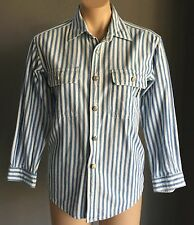 90's Vintage BLUES UNION Blue & White Stripe 3/4 Sleeve Shirt Size 10