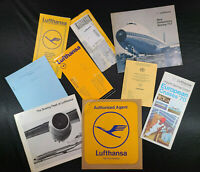 Vintage Lufthansa Germany Airline Boeing 1960s Brochures Booklet Tickets Sign ✈️
