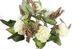 Dahlien Pfingstrosen Strauß Blumen  30 cm weiß creme künstlich Bouquet  (30634
