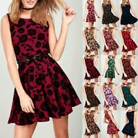 Ladies Womens Rose Floral Belted Sleeveless Flared Party Dress Skater Mini Dress