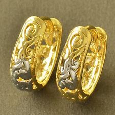 Dainty 9K Yellow & White Gold Filled U-Shape Womens Hoop Earrings  Lucky Jewelry