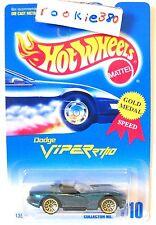 1992 Hot Wheels #210 ∞ DODGE VIPER RT/10 ∞ GREEN W/ GOLD WSP WHEELS GOLD MEDAL