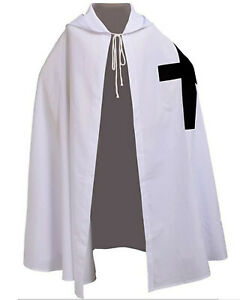 White Medieval Knight Templar Cloak Hooded Cape Cosplay Robe
