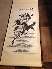 Excellent Chinese Long Hand Painted Scroll Xu Beihong Horses Signed & Stamped
