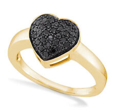 Heart Ring 10K Yellow Gold Black Diamonds .29ct Band Domed Cluster Setting